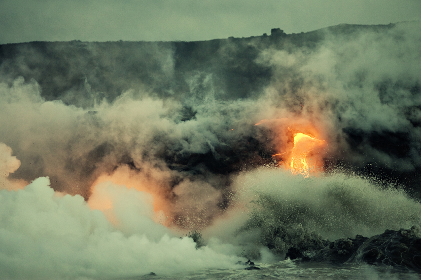 Lava flow into the Pacific Ocean, 4:30am,Big Island, Hawai'i